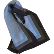 Glentex Blue and Black  Long Scarf with Rolled Edges