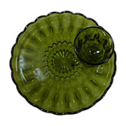 Avocado Green Glass Luncheon Plate and Cup