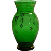 Forest Green Anchor Hocking Hand Painted Glass Vase