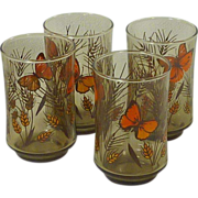 SALE Butterfly 1970�s Juice Glasses