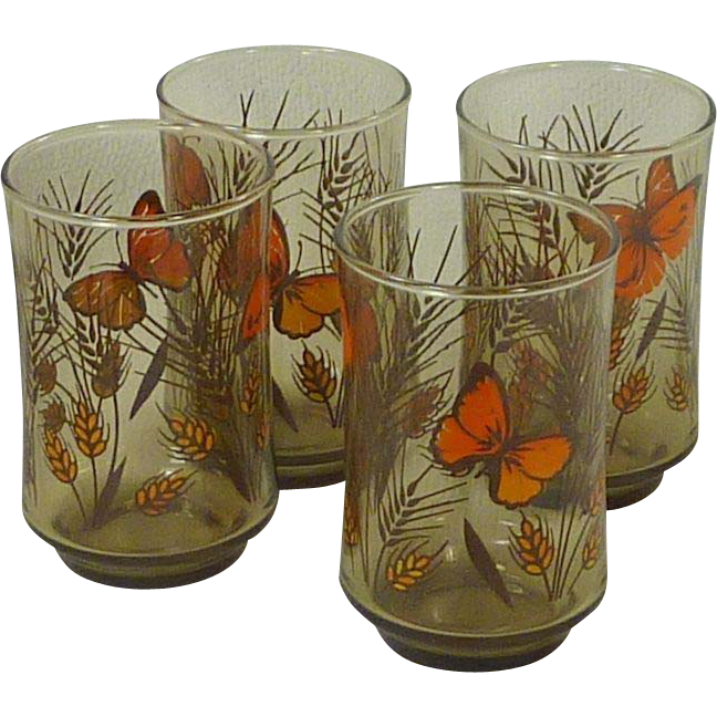 Butterfly 1970's Juice Glasses