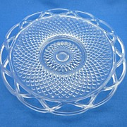 Pressed Glass Lace Cut Serving Plate