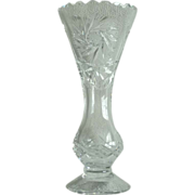 SALE Violetta Etched Crystal Clear Flower Vase