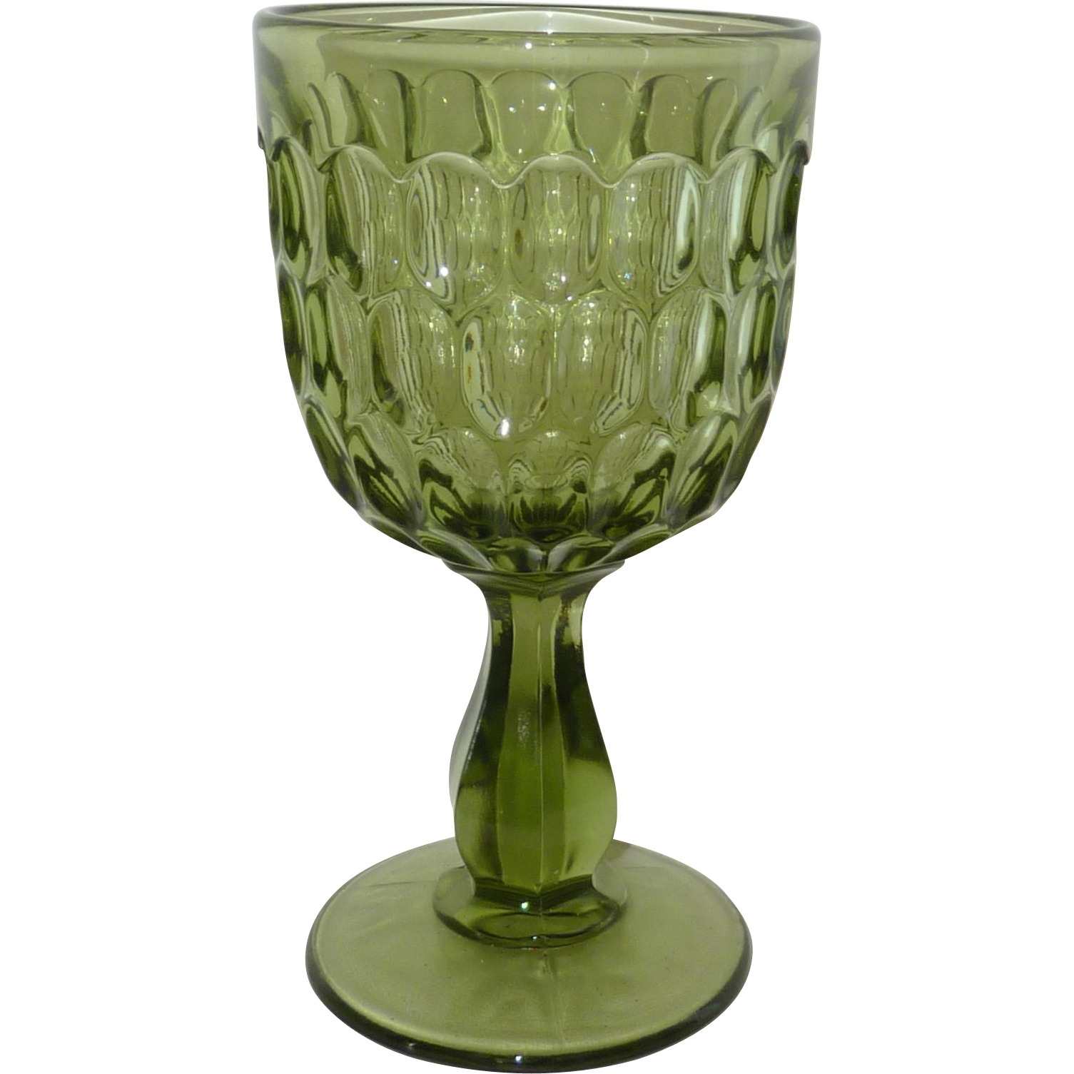 Fenton Green Thumbprint Water Goblet