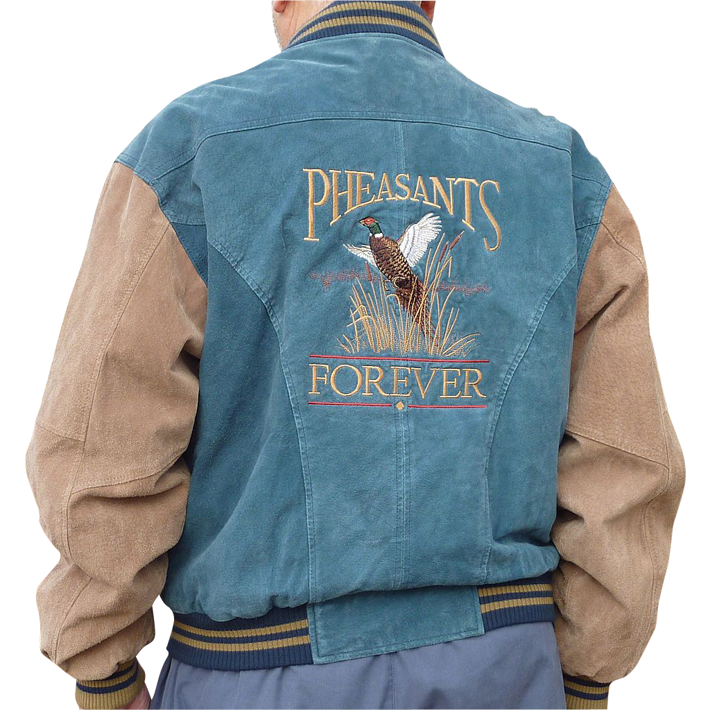 """Pheasants Forever"" Suede Leather Vintage Jacket"