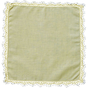 Yellow Linen with Crocheted Edge Handkerchief