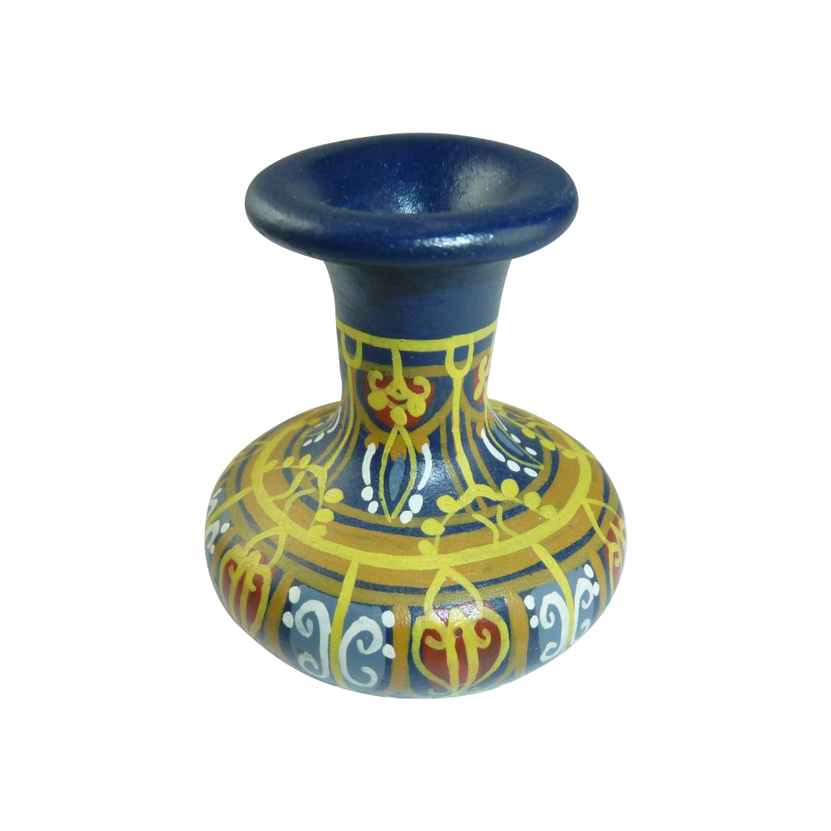 Blue Miniature Hand Painted Pottery Urn Vase