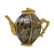 Miniature Black with Love Birds Cloisonn� Teapot / Coffeepot with Top