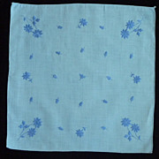 Blue with Dark Blue Flowers Handkerchief