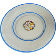 Clear Glass Serving Platter with Spring Flowers and Blue Banded