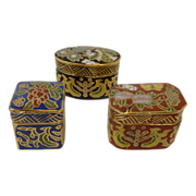 3 Miniature Cloisonn� Boxes Containers