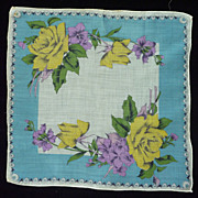 Yellow Roses and Fuchsia Flowers Aqua Handkerchief