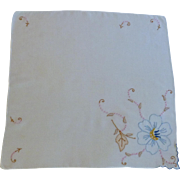 Applique Flower White Handkerchief with Blue and Pink
