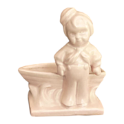 Haeger Little Sailor Boy with Boat Pink Pottery Planter