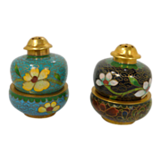 2 Pair Stacked Cloisonn Aqua Blue & Black Salt & Pepper