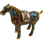 Brass and Enamel Cloisonne Miniature Horse
