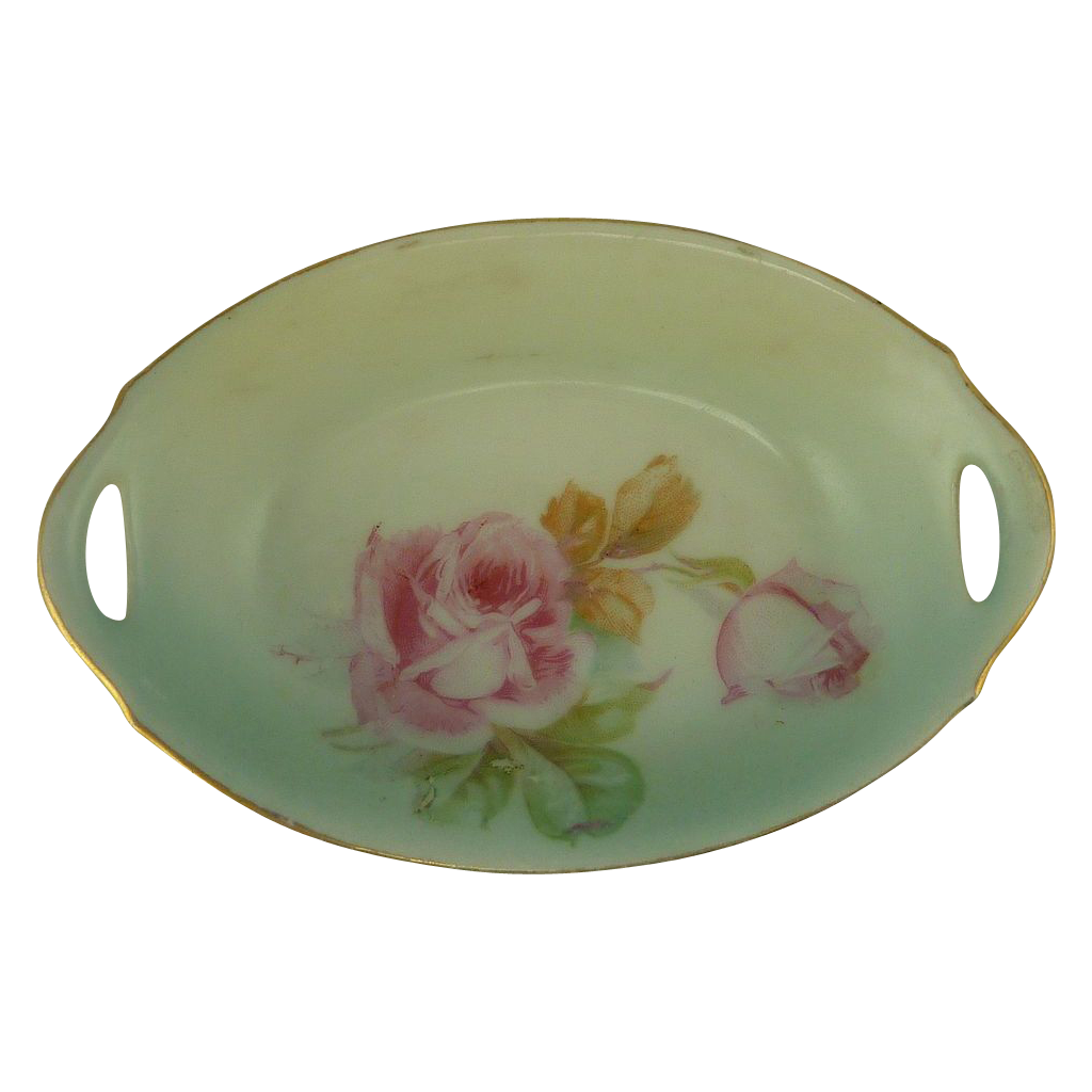 Beautiful Bavarian Pink Roses Salt Bowl Dish