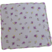 Crochet Edge Purple Flowers on White Handkerchief Hanky
