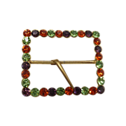 1970s Gold Tone Colorful Rhinestone Scarf / Belt Buckle