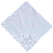 Gorgeous White Heart on White Handkerchief