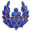 Vintage jewelry brooch huge blue Montana Blue cabochons  On Sale