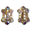 Vintage glamour luxury costume jewelry caged aurora borealis earrings