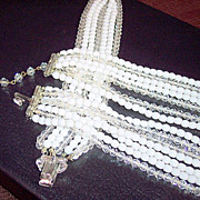 Vintage jewelry multi strands necklace bracelet snow white ands crystal