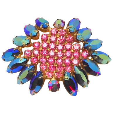 Vintage Luxury Jewelry brooch  Large tiered Red Aurora Borealis Pink center