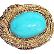 Vintage jewelry signed Riser brooch gilded nest Robin's egg Cabochon