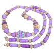 Vintage Art Glass Beaded Necklace Beautiful Lilac Creme Art Glass Beaded Necklace