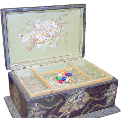 Antique Victorian lady's pocket watch holder jewelry box hand painted Daisy
