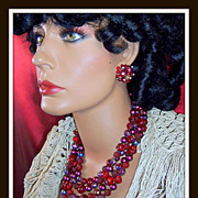 SOLD Vintage luxury black red raspberry glass chunky multi strand demi - Red Tag Sale Item