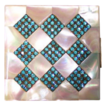 Vintage luxury Elgin American compact teal rhinestones mother of pearl