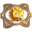 Antique Victorian brooch paste accents huge lemon citrine glass center