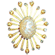 Huge starburst De Nicola brooch designer signed vintage jewelry