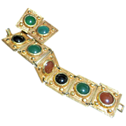 Vintage jewelry chunky luxury designer signed Goldette bracelet