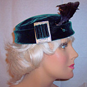 Vintage hat large feathers 1930's hat green velvet rhinestones trim