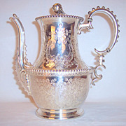 Antique Silverplate Rogers Smith & Co luxury Tea Pot very ornate beadwork