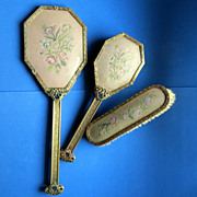SOLD Vintage luxury vanity hand mirror brush set very ornate with needlepoint