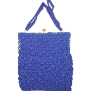 Vintage 1960's Walborg crochet purse handbag royal blue