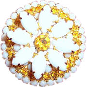 Large deep flower brooch vintage costume jewelry very unusual form