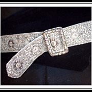 SOLD Vintage runway glamour 35 inch rhinestones and beads 2 inch wide belt