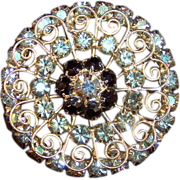 Huge vintage costume jewelry brooch yellow and chocolate rhinestones