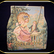 SOLD Vintage fine tapestry French purse lovers with swans