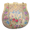 Early 1900's Needlepoint purse blue ribbon and roses with ornate frame