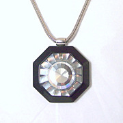 Vintage Lanvin jewelry major bling huge crystal in heavy black resin necklace
