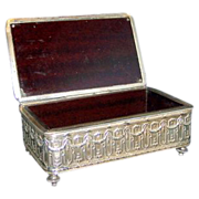 Large vintage ornate silverplate jewelry casket box country scene Bakelite lining