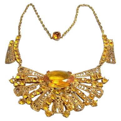Vintage costume jewelry early 1900's ornate filigree yellow glass luxury necklace