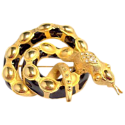 Vintage large heavy unusual figural snake serpent brooch