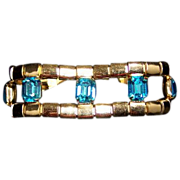 Vintage Pegasus symbol Coro major bling faux blue topaz jewelry bracelet